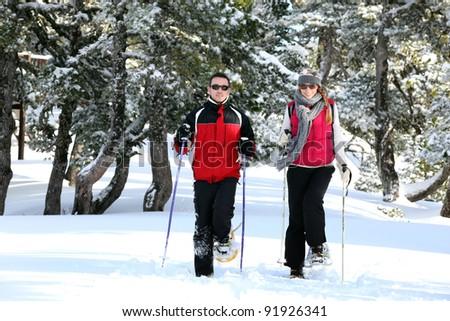 Couple skiing together