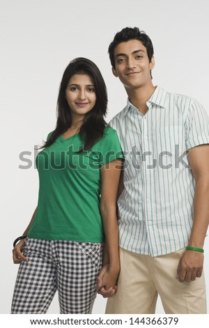 Couple smiling with holding hands Photo stock ©