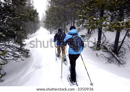 Couple snowshoeing in Colorado