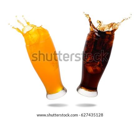 Couple soft drink splashing out of glass isolated on white background. #627435128