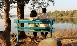 Couple spending the evening in the vibrant wooden bench in front of the shore