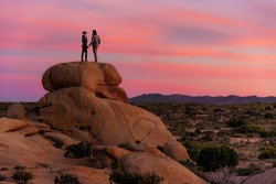 Couple standing on a rock in Joshua Tree National Park with beautiful, pink sunset.