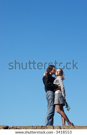 couple strong kissing on the top