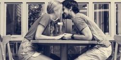 Couple sweet date coffee shop