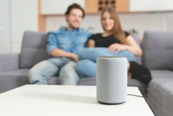 Couple talking command to smart speaker. Intelligent assistant in smart home system.