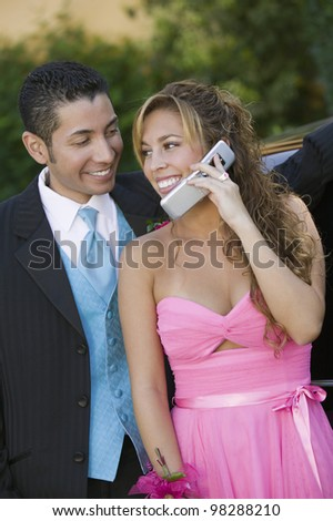 Couple Talking on Cell Phone