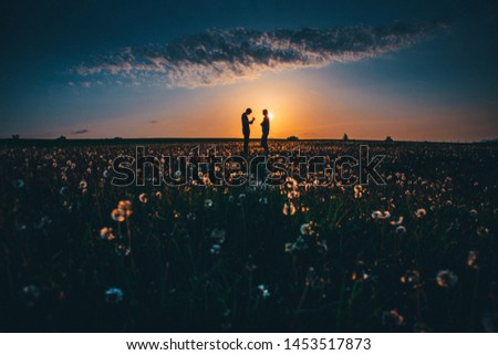 Couple together on spring dandelions field, beautiful romantic photo, edit space #1453517873