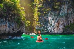 Couple traveler canoeing joy beautiful nature scenic landscape PiLeh lagoon Krabi, Adventure lifestyle leisure travel Phuket Thailand, Tourist on summer holiday vacation trip, Tourism destination Asia