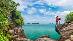 Couple traveler on beach joy nature scenic panorama view landscape island, Adventure attraction place tourist travel Thailand summer holiday vacation trip, Tourism beautiful destination Asia