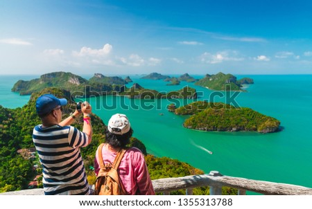 Couple traveler on top of island joy view beautiful amazed nature scenic landscape, Adventure lifestyle landmark tourist travel Samui Thailand summer holiday vacation, Tourism destinations place Asia