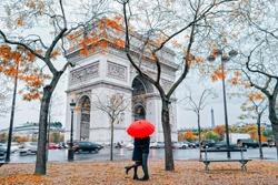 Couple under umbrella at rain in Paris.