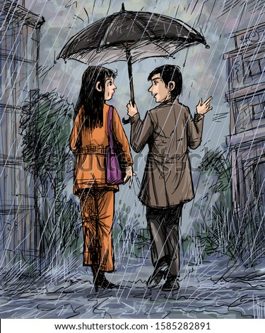Couple using an umbrella walking on the street in rainy day