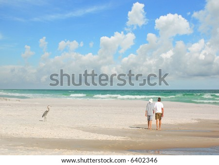 Couple Walking by Heron on Beach