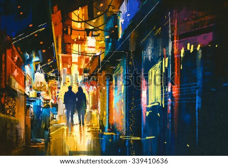 couple walking in alley with colorful lights,digital painting