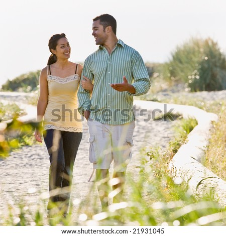 stock photo : Couple walking on beach