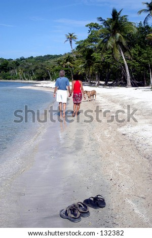 couple walking on beach hand in hand with dog