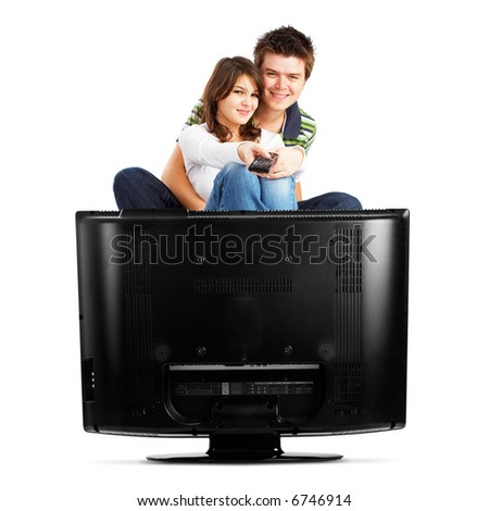 Couple watching TV - front view - isolated on white