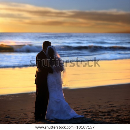 Couple wedding on the beach at sunset - stock photo