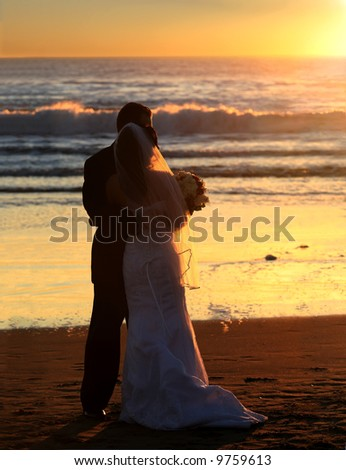 stock photo Couple wedding on the beach at sunset