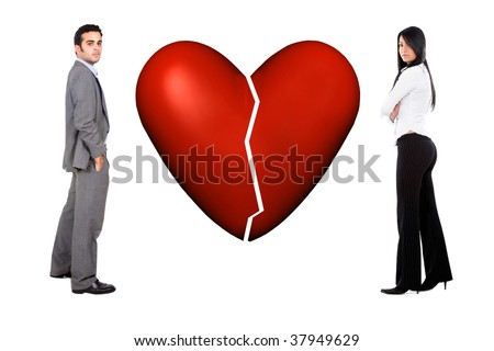 Couple with a broken heart isolated over white