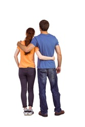 Couple with backs to camera on white background
