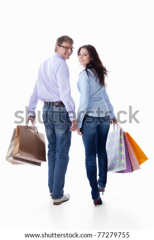 Couple with bags on a white background