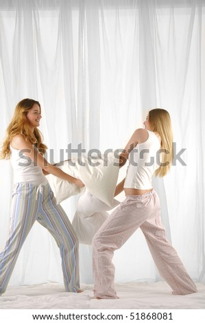 couple woman with pillow