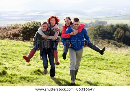 Couples on country walk