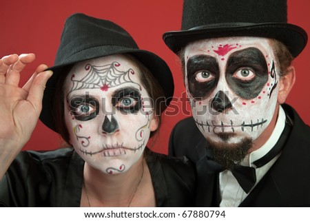 Day of The Dead Makeup Couple Couples on Day of The Dead
