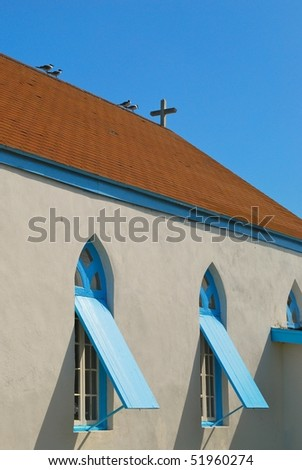 Couples on the roof of the church