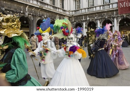 couples prepare to have a parade for carnivale in venice,Italy.Mardi Gras of europe - stock photo