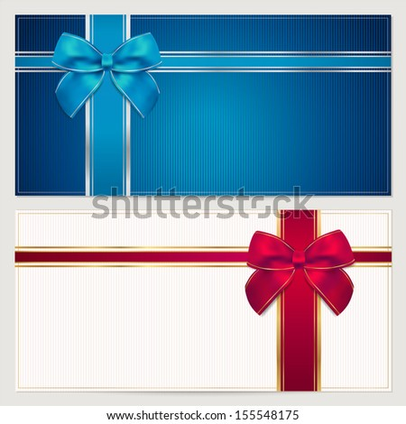 Coupon, Voucher, Gift Certificate, Invitation, Gift Card (Greeting Card) Template With Big Red And Blue Bow (Ribbons, Present). Holiday (Celebration) Background Design For Invitation