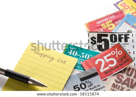 Coupons and shopping list on white background. Concept of saving money.
