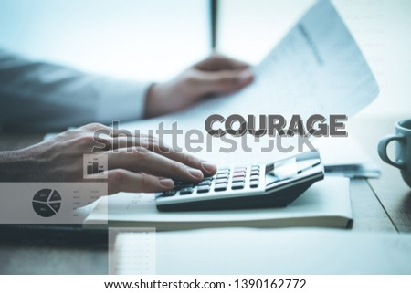 COURAGE AND BUSINESS WORKPLACE CONCEPT #1390162772