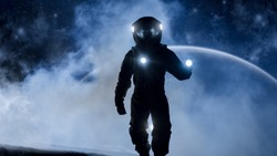 Courageous Astronaut in Space Suit Holds Flashlight and Explores Mysterious Alien Planet Covered in Mist. Other Planet in Background. Adventure. Space Travel, Habitable World and Colonization Concept.