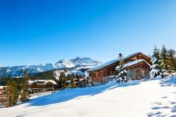Courchevel village in Alps mountains, France. Winter ski resort. Famous travel destination
