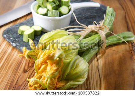 courgette and pumpkin flower