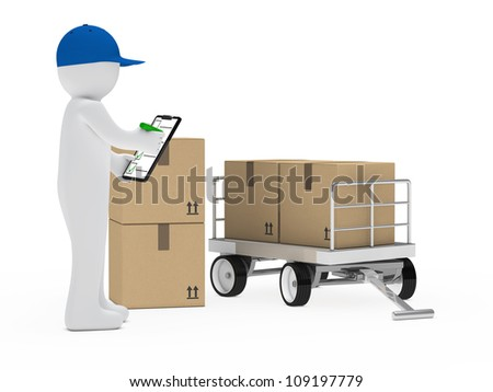 courier figure trolley make signs package cecklist