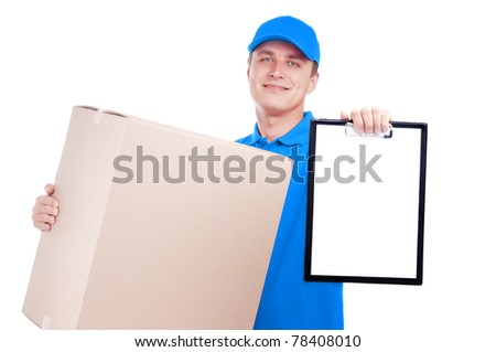 Courier in blue uniform with a big box and a tablet isolated on white