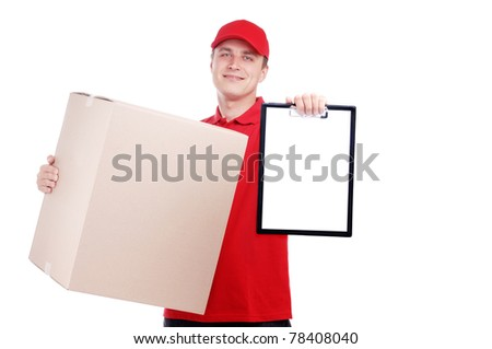 Courier with a big box and a tablet isolated on white