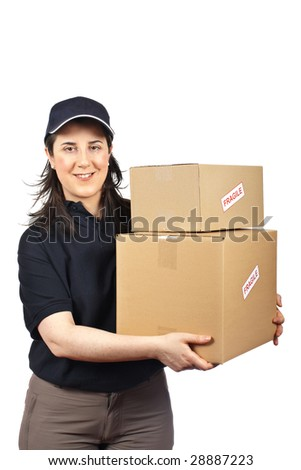 Courier woman delivering a parcels fragile isolated on white background