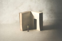 courious man entering in the book's door, fear of wisdom