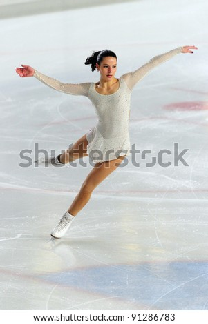 COURMAYEUR, ITALY - DEC 17: Professional skater Roberta Rodeghiero performs free skating at the 2011-12 Italian national figure ice skating Championship on December 17, 2011 in Courmayeur, Italy.