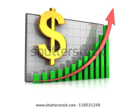 Course increase: graph with dollar sign and arrow up