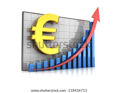 Course  increase: graph  with euro sign and arrow up