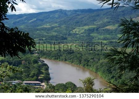 Stock Photo Course of the Mayo River as it passes through Moyobamba in San Martin-PERU