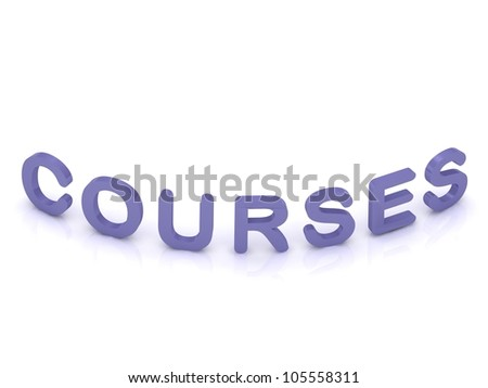 COURSES sign with bent letters on isolated white background