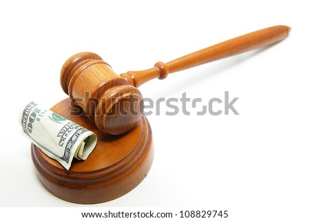 court gavel and cash, on white