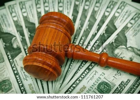 court gavel on an array on money