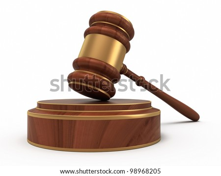 Court Gavel render (isolated on white and clipping path)